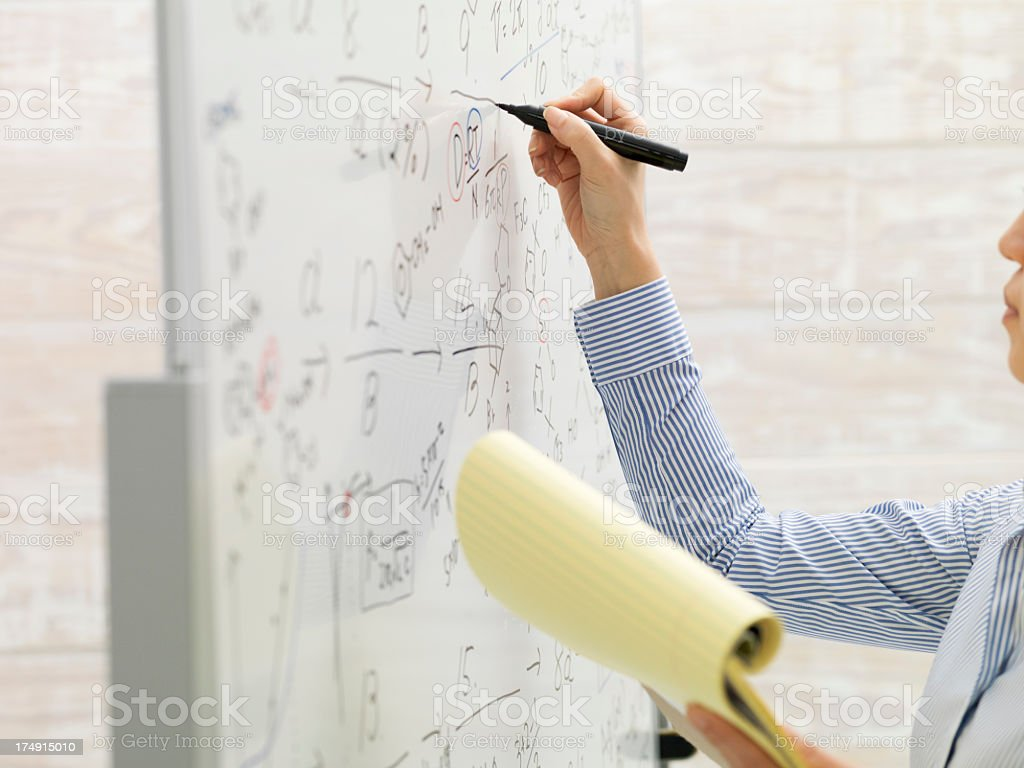 Woman who writes formula to a white board royalty-free stock photo