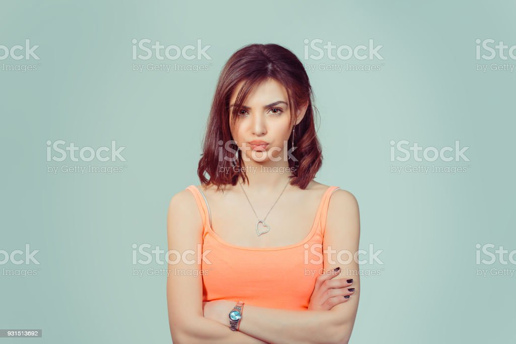 woman wife looking at you skeptically stock photo