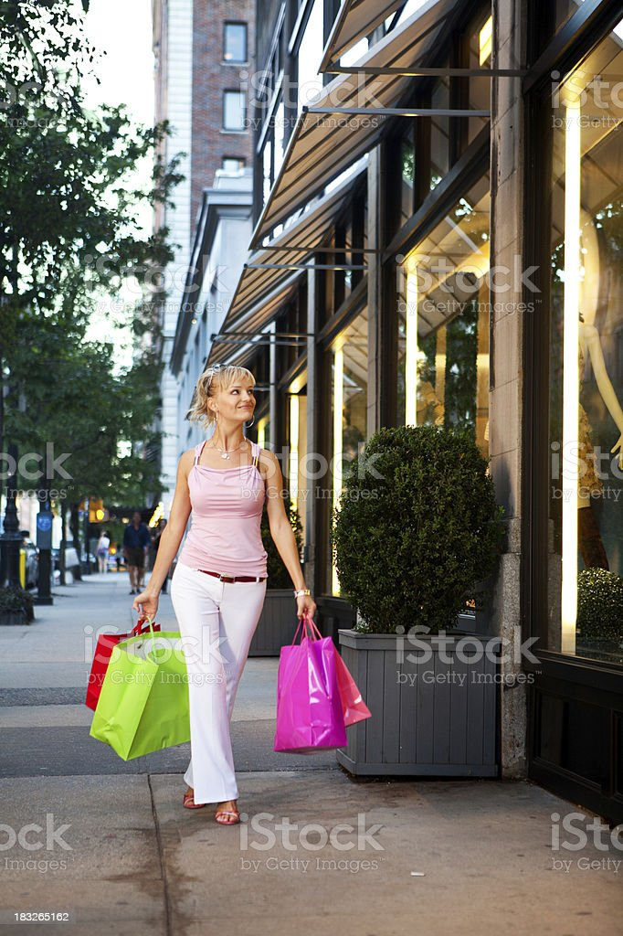 Woman window shipping in New York City royalty-free stock photo