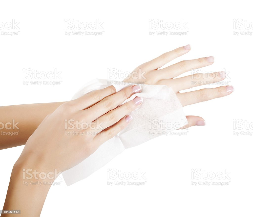 woman wipes his hands stock photo