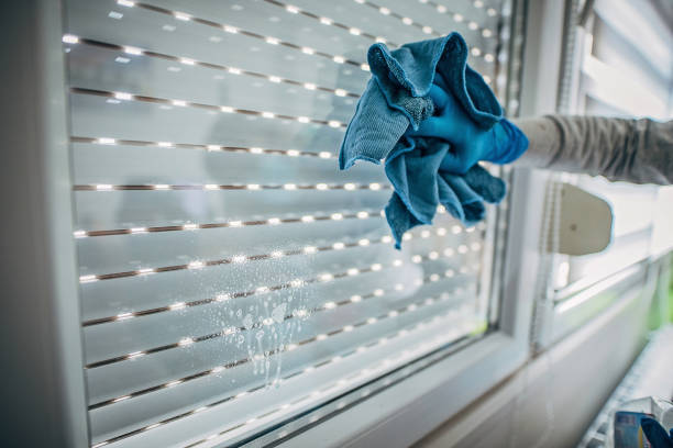 Woman wiping and doing disinfection on windows stock photo