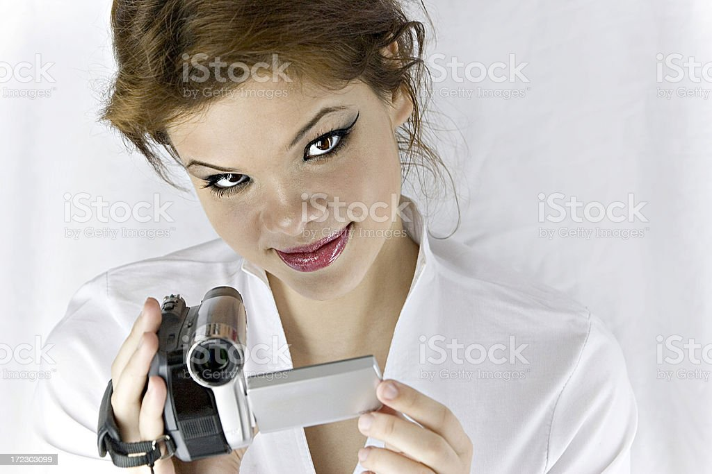 Woman wirth camcorder royalty-free stock photo