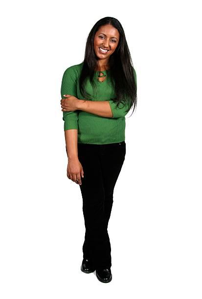 frau mit einem schönen lächeln - indianer make up stock-fotos und bilder