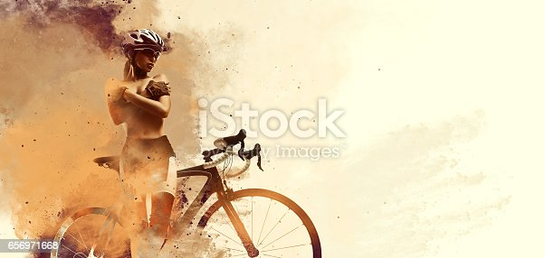 istock Woman with a bicycle 656971668