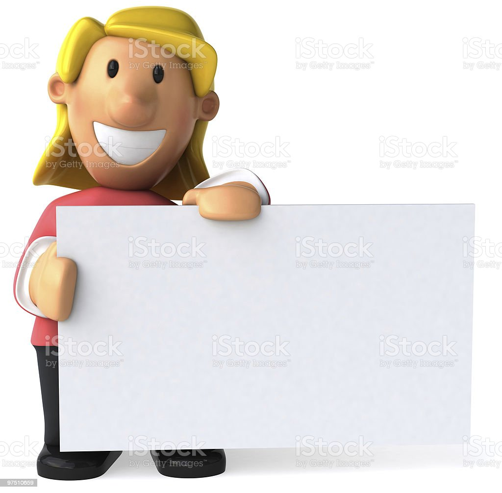 Woman with a blank sign royalty-free stock photo