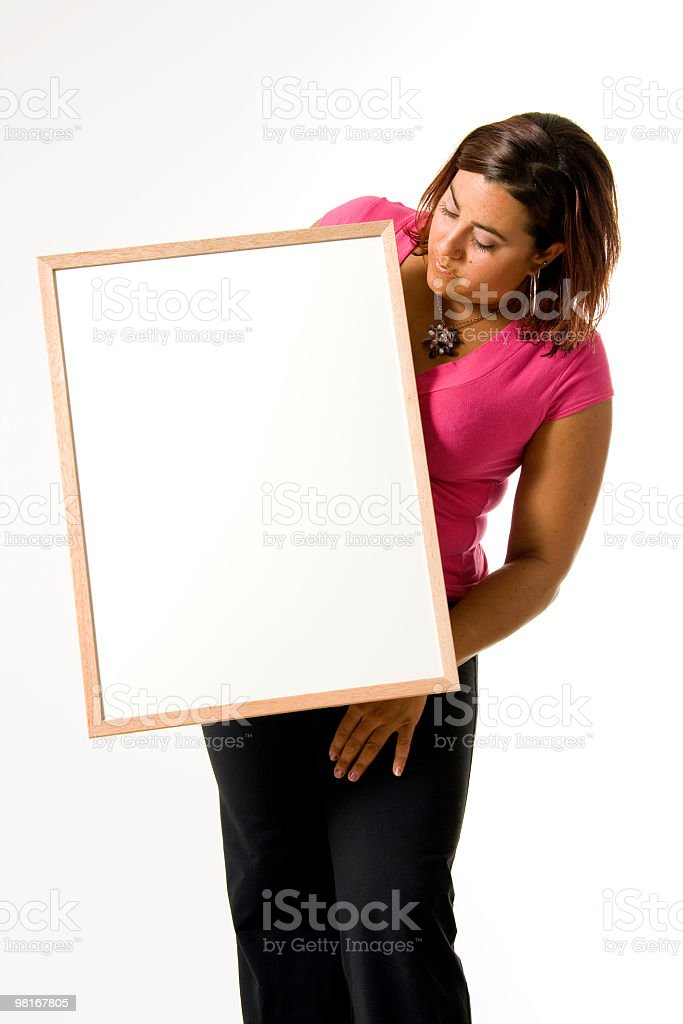 Woman with a blank white sign royalty-free stock photo