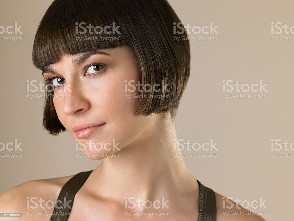 Woman with a bob hairstyle stock photo