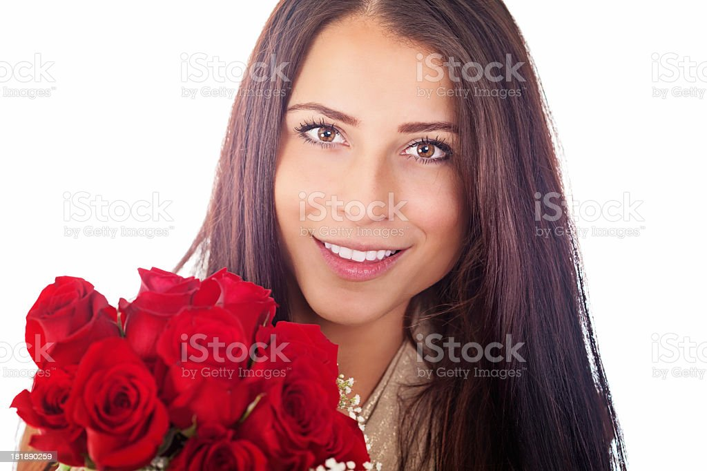 Woman with a bouquet of red roses royalty-free stock photo
