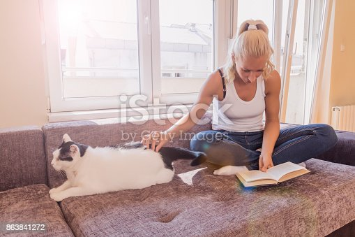 istock woman with a cat by the window reading a book / woman reading a book 863841272