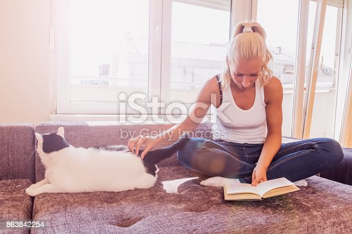 istock woman with a cat by the window reading a book / woman reading a book 863842254