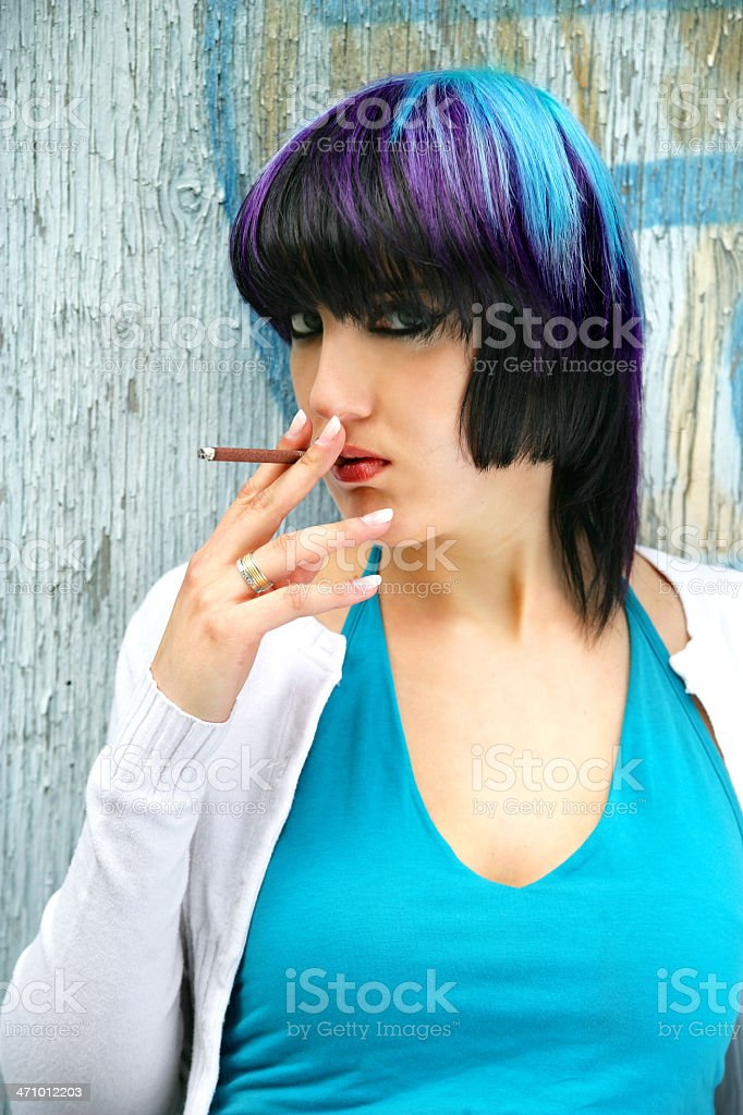 Woman with a cigar royalty-free stock photo