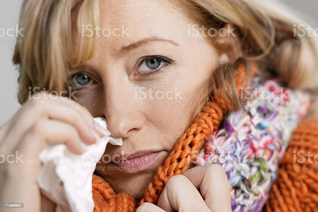 Woman with a cold royalty-free stock photo