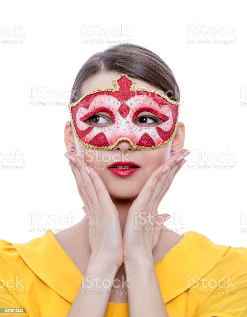 Woman with a Colombina Venetian Mask stock photo