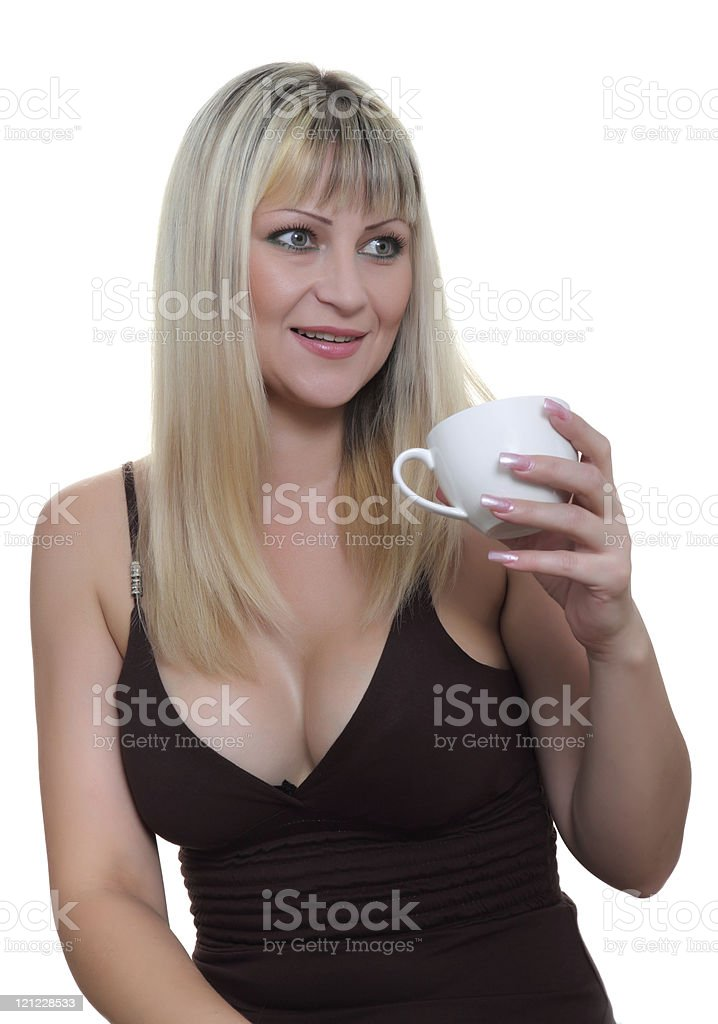 Woman with a cup royalty-free stock photo