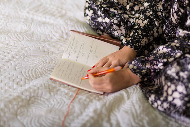 Woman with a diary stock photo