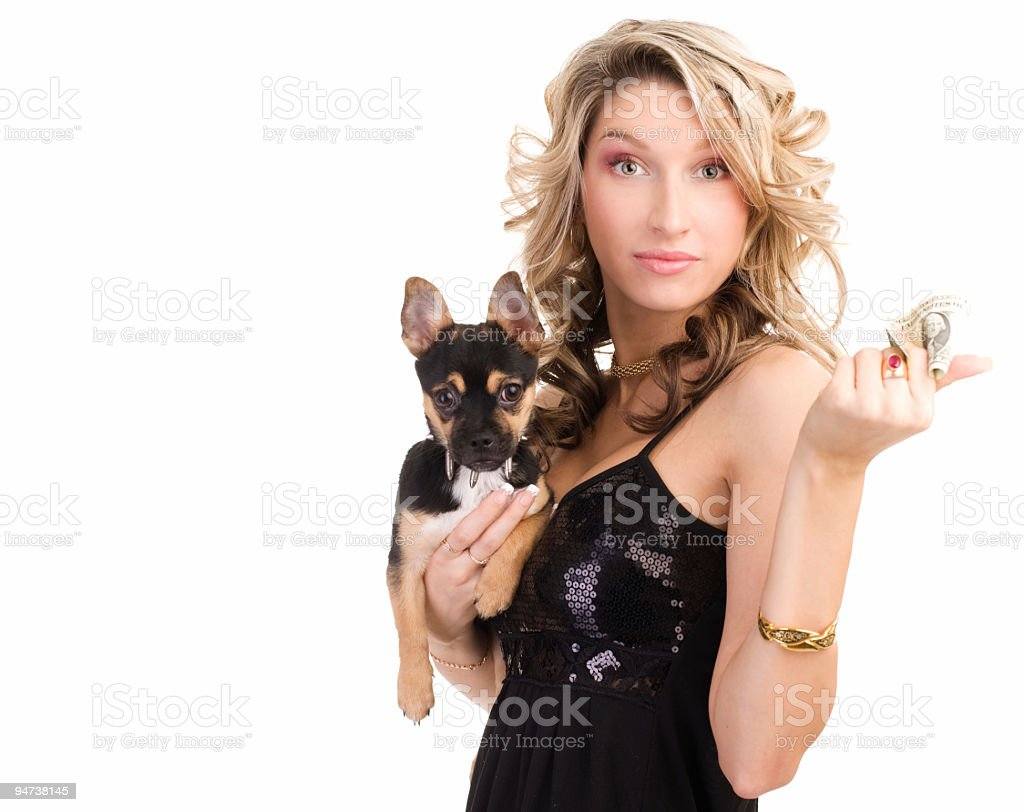 Woman with a doggie stock photo