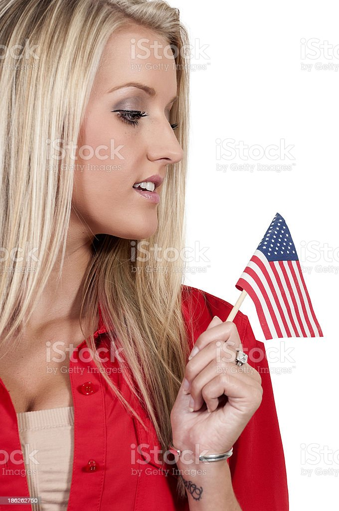Woman with a Flag royalty-free stock photo