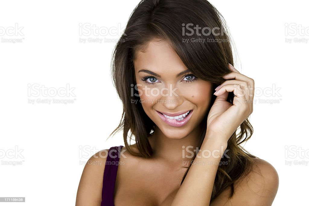 Woman with a flirty expression stock photo