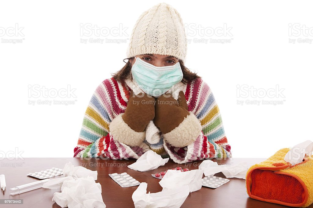 woman with a flu mask royalty-free stock photo