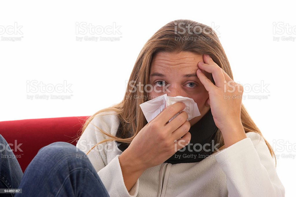 woman with a flu royalty-free stock photo