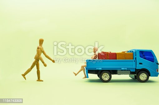 Plastic toy trucks, wooden dolls, small gift cases,