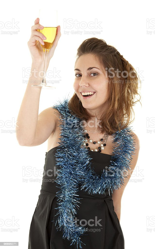 Woman with a glass of champagne royalty-free stock photo