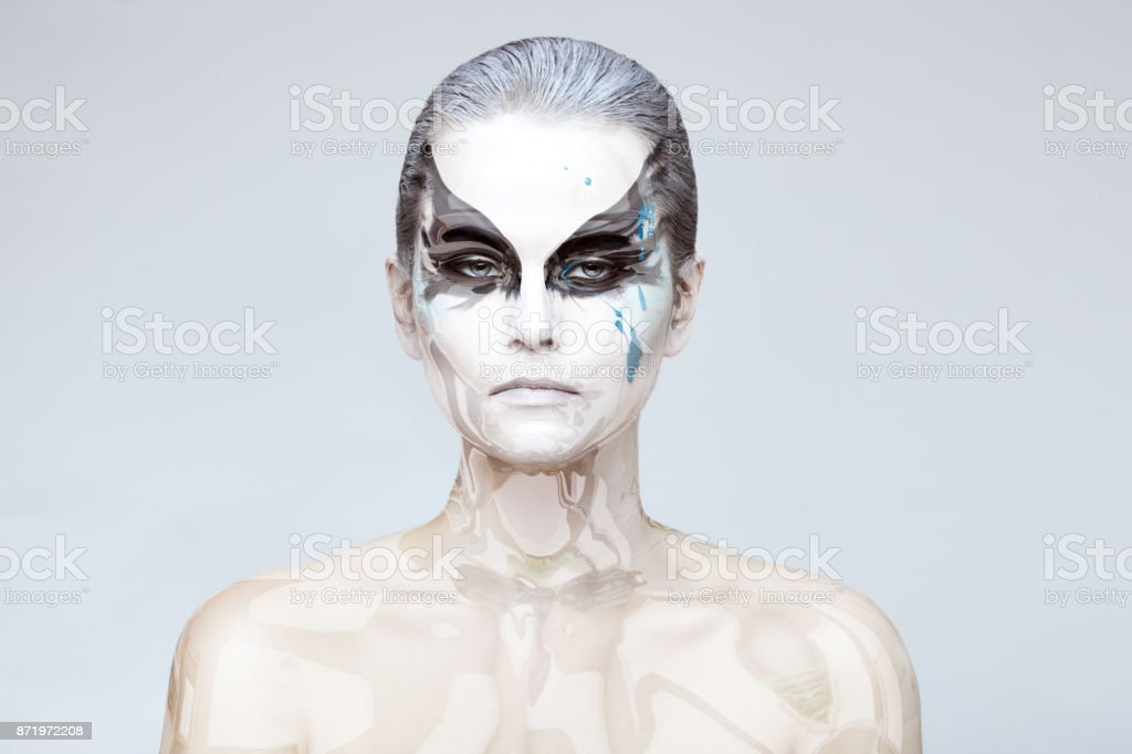 Woman with a glass skin. stock photo