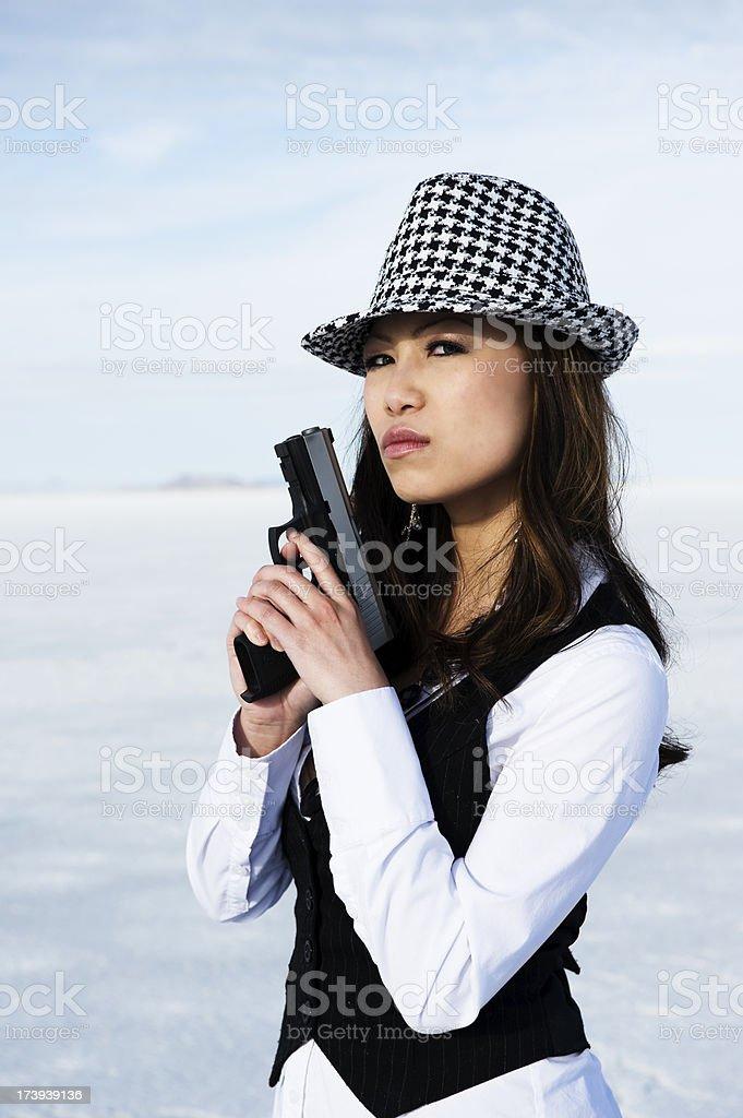 Woman with a Gun stock photo