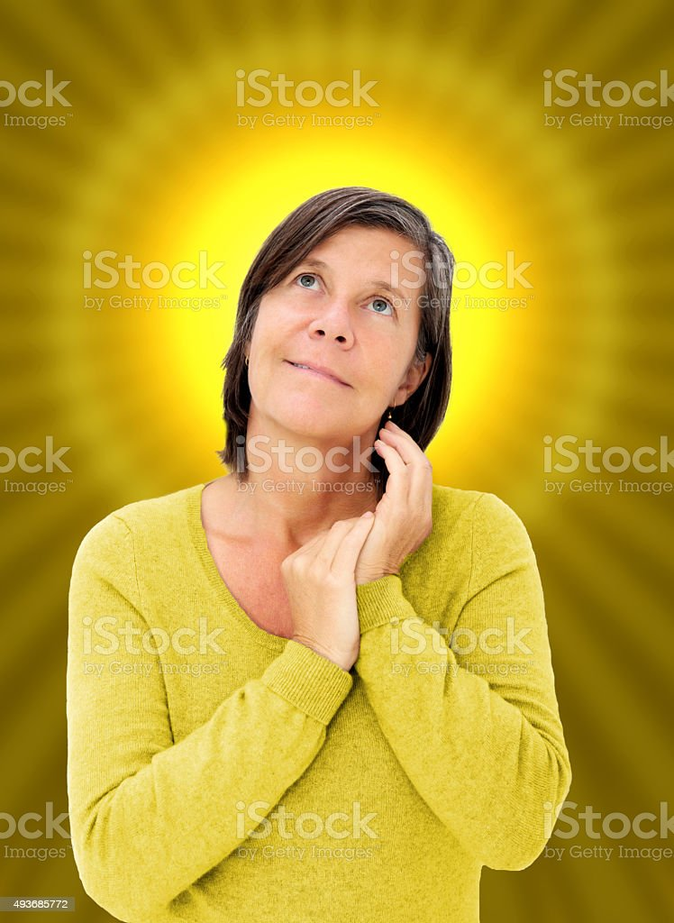 woman with a halo stock photo