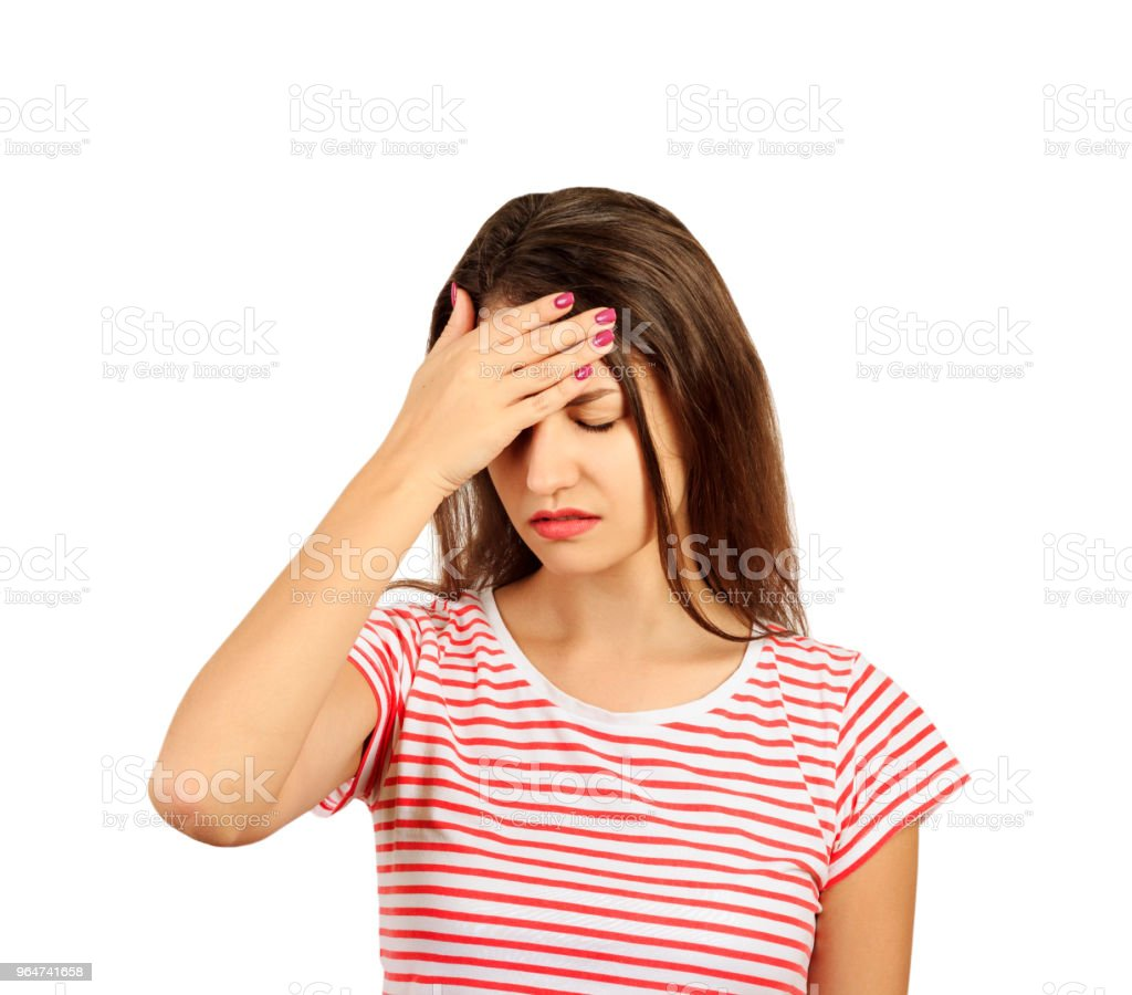 woman with a headache. emotional girl isolated on white background royalty-free stock photo