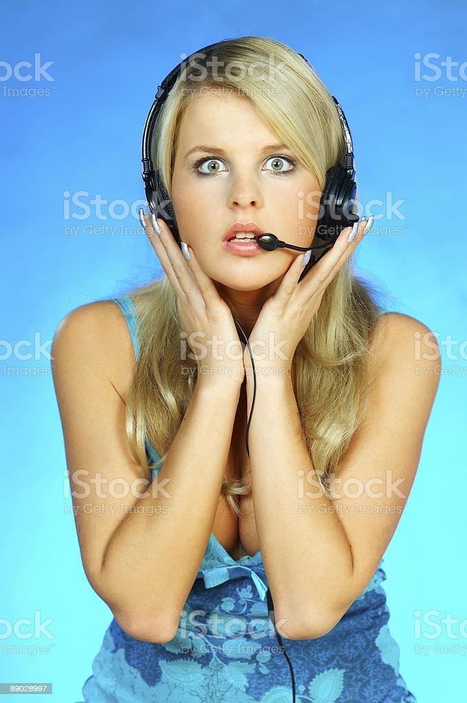 Woman with a Headset royalty-free stock photo