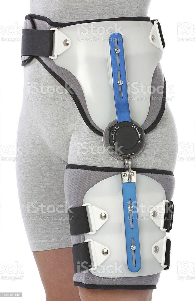 Woman with a hip splint stock photo