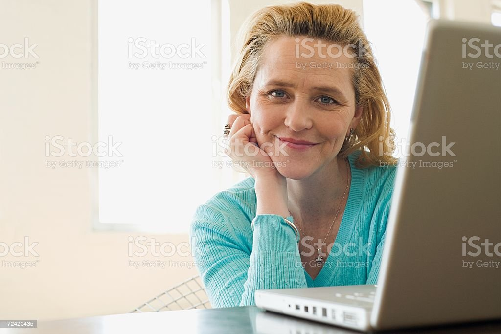 Woman with a laptop royalty-free stock photo