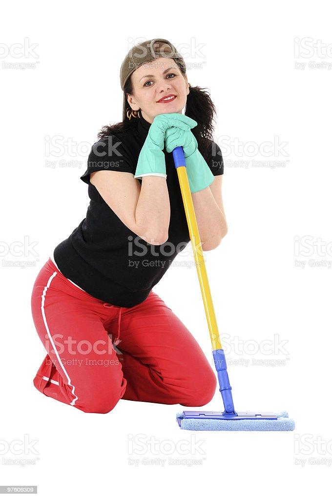 woman with a mop royaltyfri bildbanksbilder