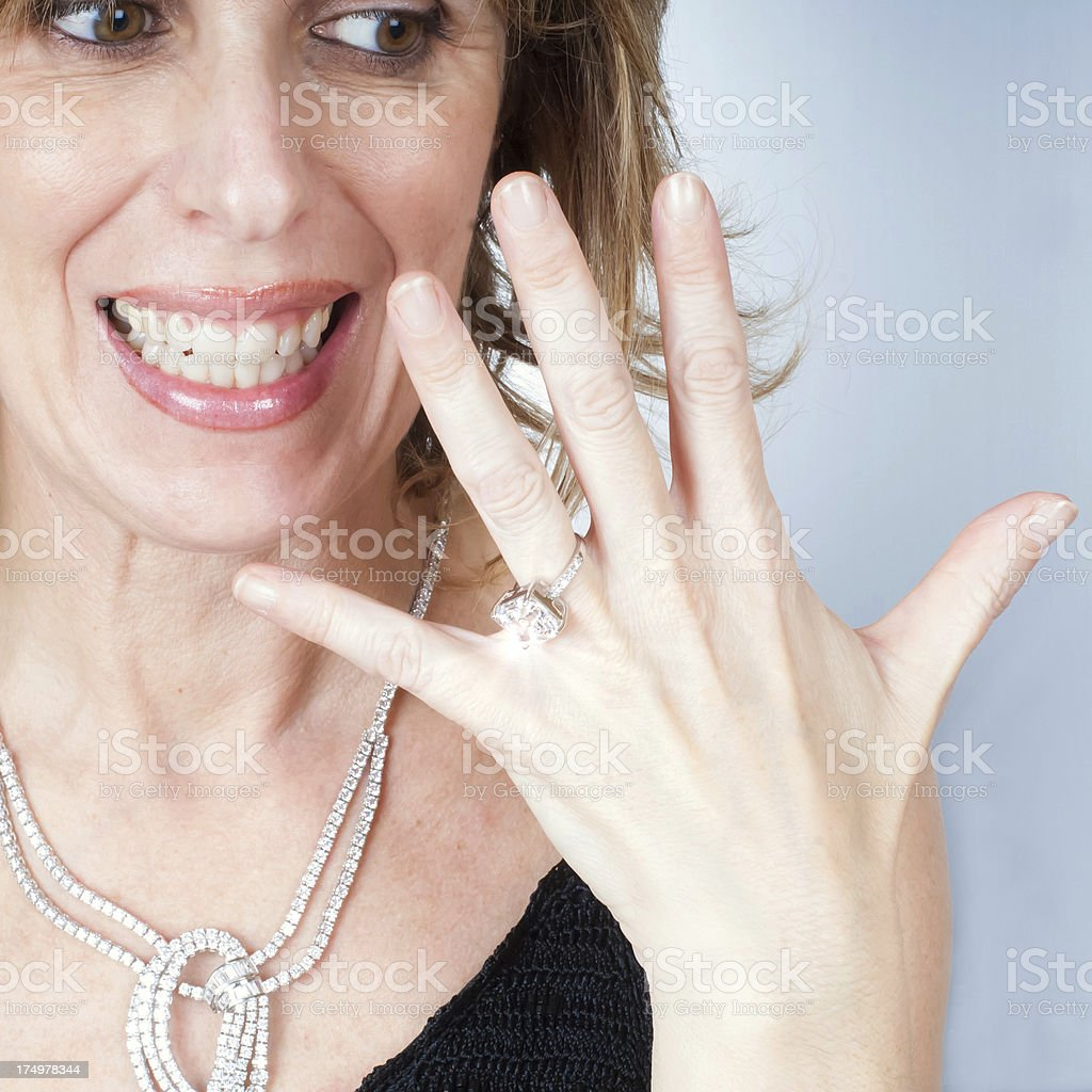 Woman With a New Ring royalty-free stock photo