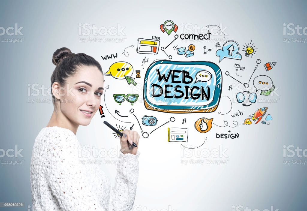 Woman with a pen, web design stock photo