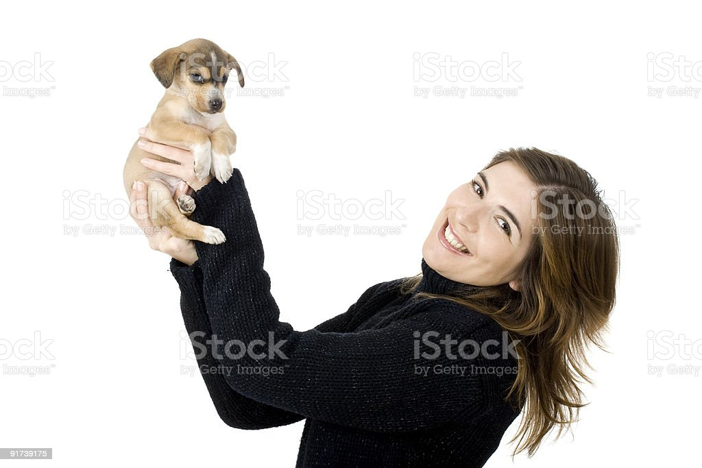 Woman with a puppy royalty-free stock photo