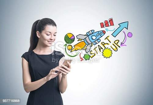 895493084 istock photo Woman with a smartphone, start up 937716868