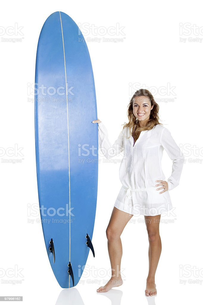Woman with a surfboard royalty-free stock photo