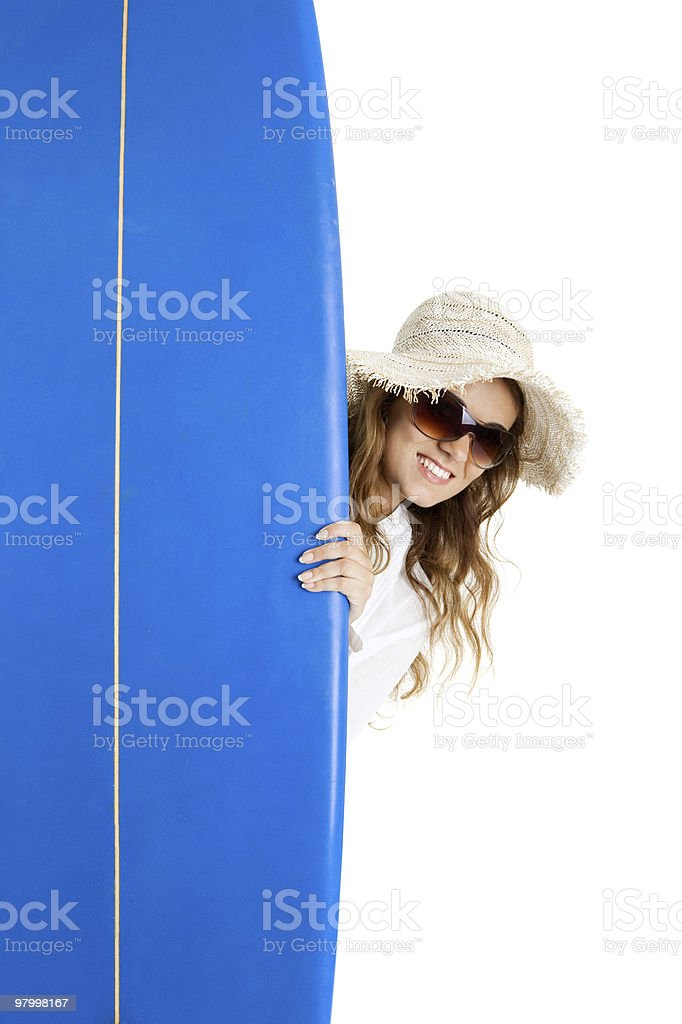 Woman with a surfboard royalty free stockfoto