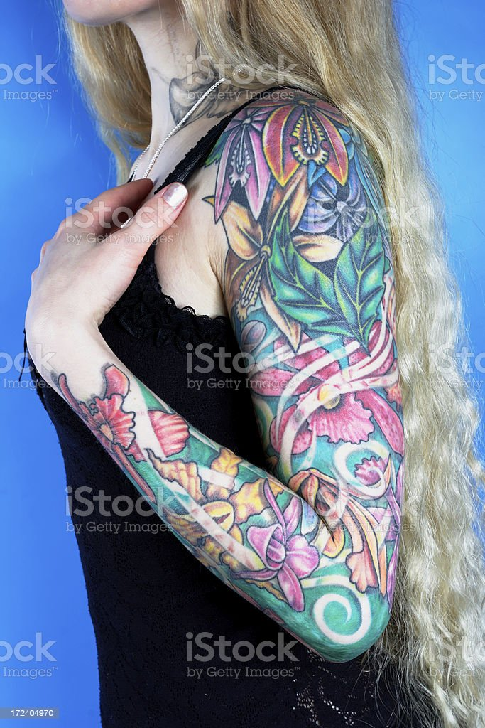 Woman with a tattoo royalty-free stock photo