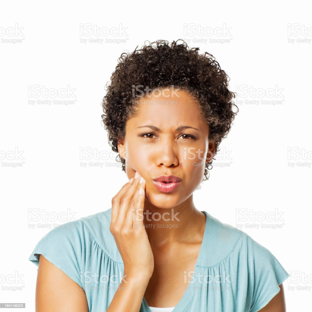 Woman With a Toothache - Isolated stock photo