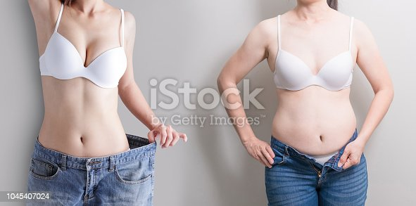 istock woman with abdomen loss concept 1045407024