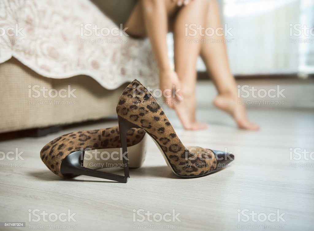 Woman with aching feet stock photo