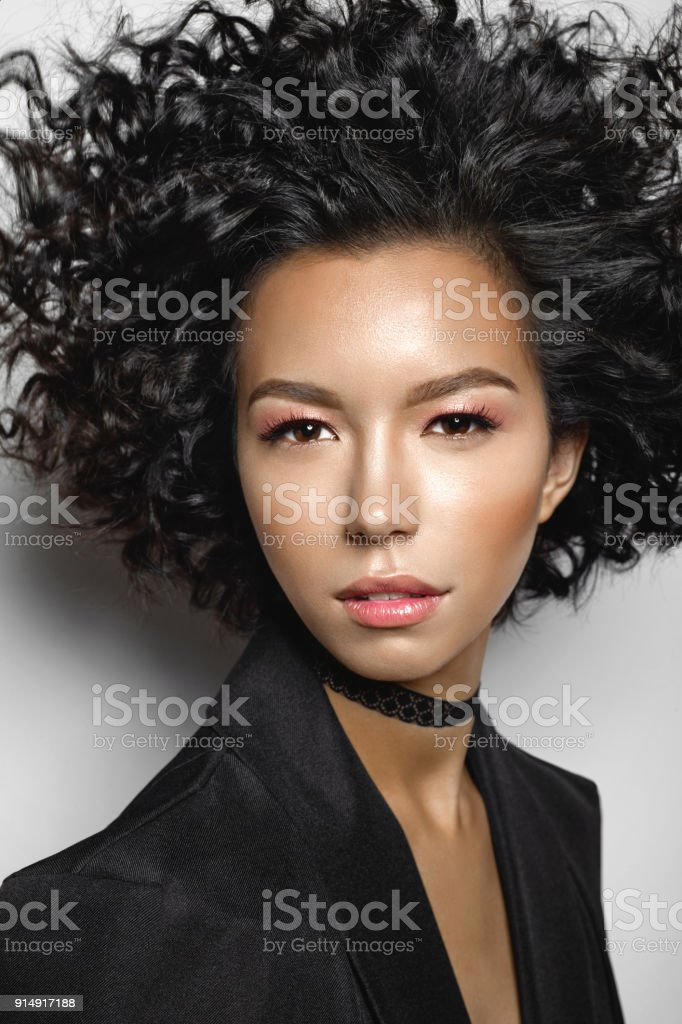 Mulatto Woman With Afro Curls Hairstyle Stock Photo Amp More
