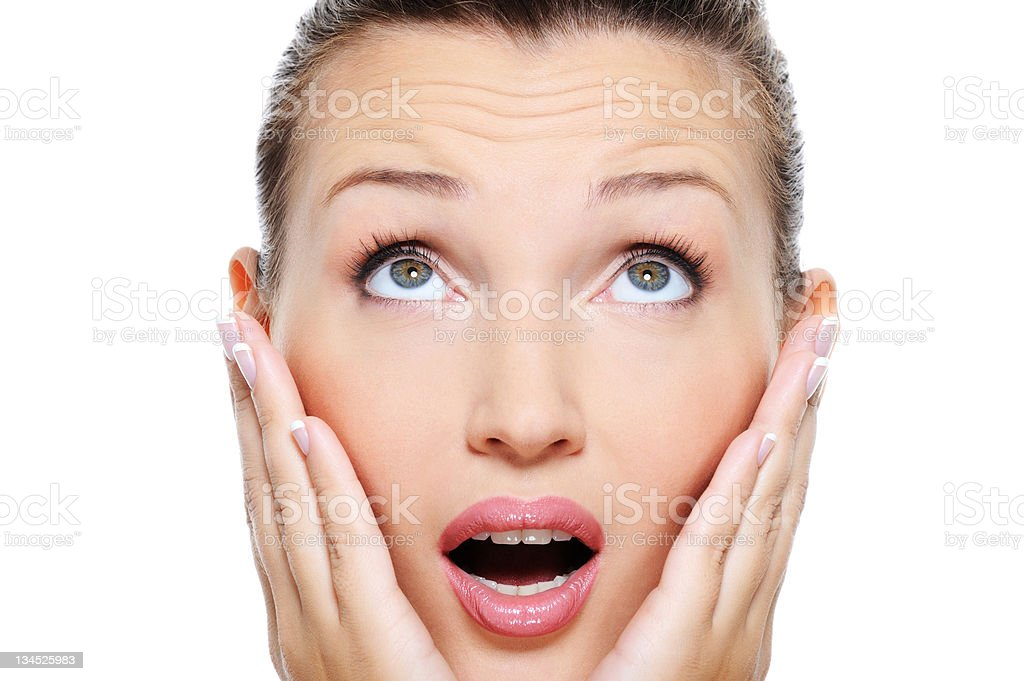 woman with an astonishment emotion stock photo