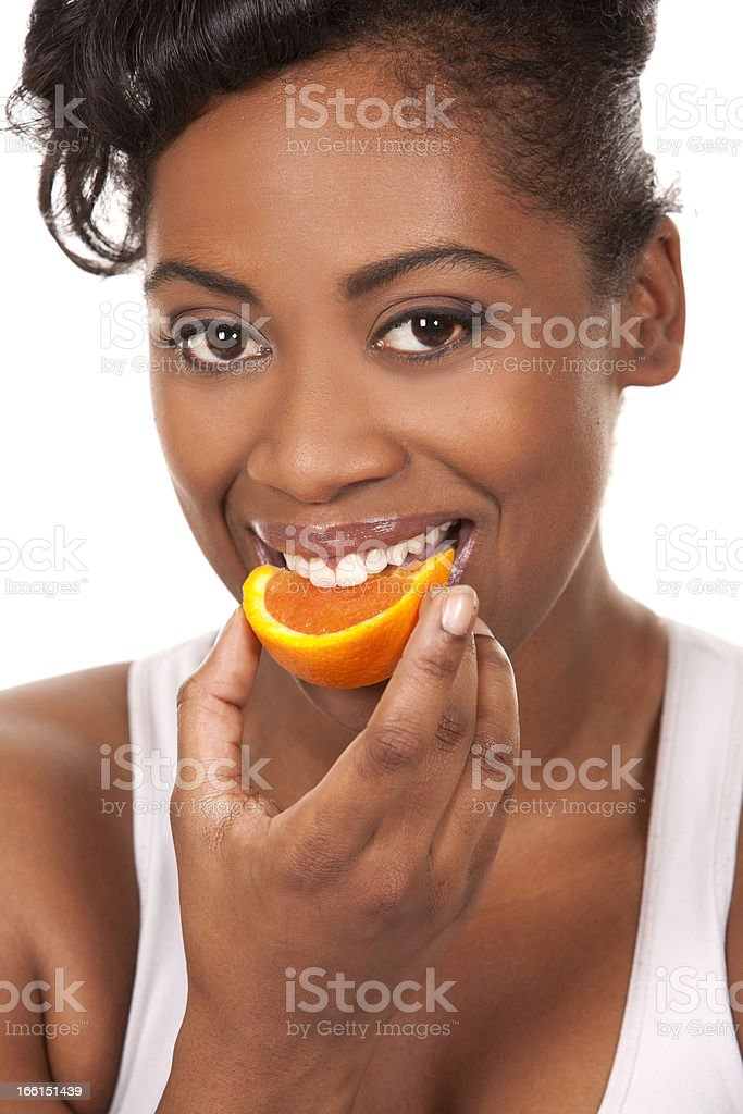 woman with an orange royalty-free stock photo