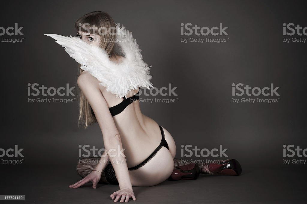 woman with angel wings royalty-free stock photo