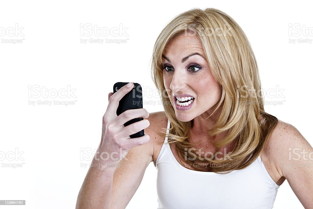 Woman with angry on phone royalty-free stock photo