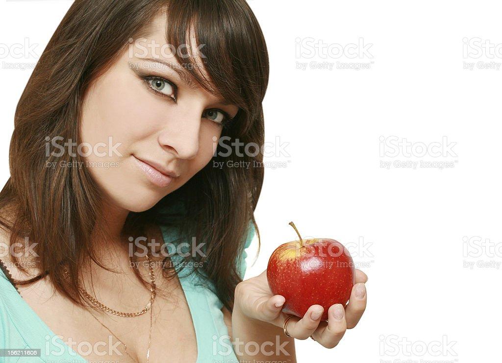 Frau mit Apfel – Foto